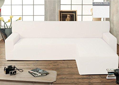 BIANCHERIAWEB Copridivano Genius con Penisola Chaise Longue Modello Swing Colore Bianco Destra Bianco