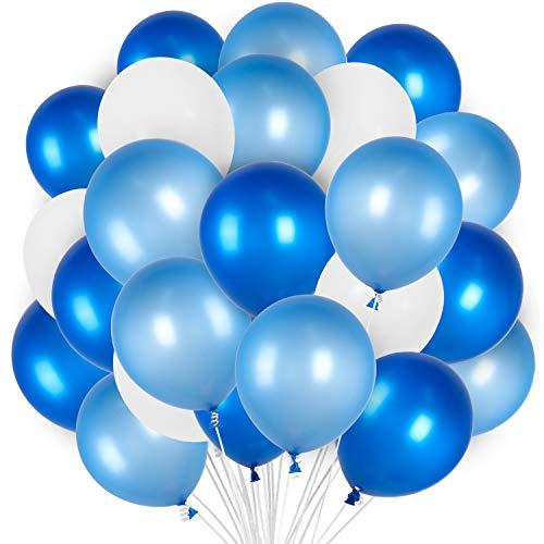 PartyWoo Globos Azules y Blancos, Globos 100 Unidades de 12 Pulgadas Paquete de Globos Azul Claro Globos Azules y Globos Blancos para Decoracion Cumpleaños Niño, Decoracion Bautizo, Baby Shower Niño