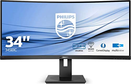 Philips 345B1C 86 cm (34 Zoll) Curved Monitor (HDMI, Displayport, USB Hub, 3440 x 1440, 100 Hz, FreeSync, 5 ms Reaktionszeit) schwarz