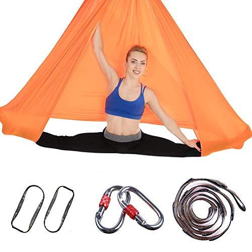 RENS Hamaca aérea de yoga, cinturón de yoga de algodón, columpio interior de 157 × 110 pulgadas (L×W) con mosquetón elástico cinturón para yoga y pilates antigravedad