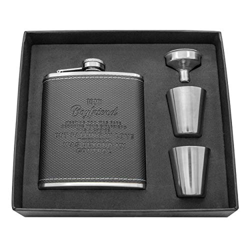 Personalized Flask Set For Boyfriend - Engraved Custom Hip Flasks - Stainless Steel with Leather Flask Gifts For Men, Birthday Valentine's Christmas Gift (Black-For Boyfriend)