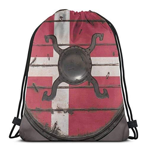 FVBV Bolsa con cordón de escudo vikingo danés, bolsa deportiva, bolsa de viaje, bolsa de regalo, mochila de fitness, mochila escolar, bolsa de viaje