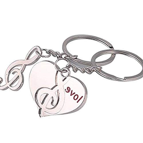 Ogquaton 1 Paar Schlüsselanhänger Herz Musiknote Anhänger Liebhaber Schlüsselbund Anhänger Schlüsselverschluss Tasche Ornamente DIY Handwerk Souvenir Geburtstagsgeschenk Praktisch