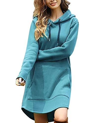 Kapuzenpullover Damen Lang Damen Hoodie Kleid Hoodie Lang Damen mit Kapuze Herbst Minikleid Sweatshirt Lang Oversize Mit Tasche Blau 34