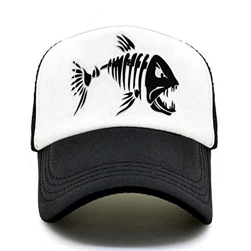 Gorras De Hombre Gorra de camionero de espina de pescado para hombre gorra de hueso de pescado con esqueleto de pesca gorras de béisbol HipHop gorras de malla de verano para hombre pescador sombrero p