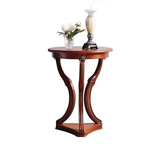 Axdwfd Table basse Table d'appoint en bois massif, petite table ronde américaine, table de salon avec canapé-lit (brun)