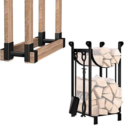 Amagabeli 2Pack Firewood Bracket Log Rack Outdoor Bundle 30.7in Tall Fireplace Log Rack with 4 Tools