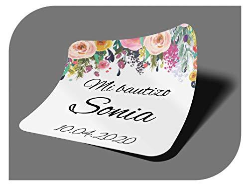 CrisPhy Pegatinas Personalizadas Comunion o Bautizo con Nombre y Fecha, Etiquetas Adhesivas para Invitacion Boda, Compromiso, Cumpleaños, Fiesta, Vintage, Sellos (Modelo 2)