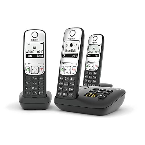 Gigaset A690A Schnurloses DECT-Heimtelefon mit Anrufbeantworter, Freisprecheinrichtung, störender Anrufblock, Heimbüro, Einzelhörer, Silber/Schwarz (Trio)