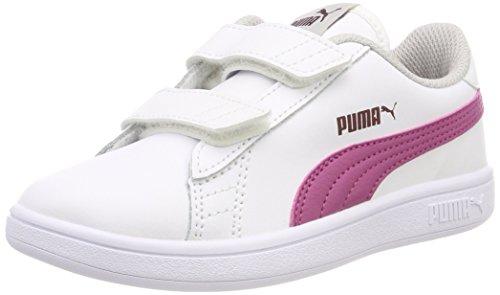 PUMA Smash V2 L V PS, Zapatillas Unisex Niños, Blanco White-Magenta Haze-Fig-Gray Violet 08, 31 EU