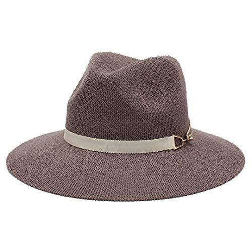 F&ELEGSH Fedora - Sombrero para mujer, color liso, para otoño, otoño, otoño y mujer, para mujer café Talla única