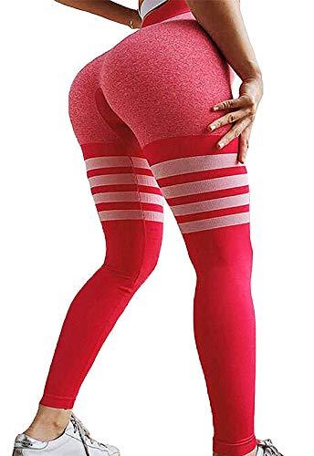 FITTOO Leggings Sin Costuras Yoga Mujer Pantalon Deportivo Super Elásticos Alta Cintura Seamless #1 Rosa Medium