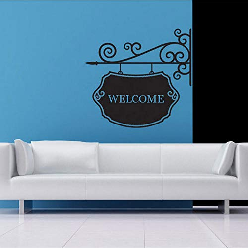 Wall Sticker Personalized Name Decal, Hanging Sign, Swirl, Wrought Iron, Custom Name Sign,Welcome Family Wall Decor Office Decor 61x57cm
