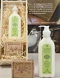 Geschenkbox aus Birkenholz mit Naturkosmetik: Olivia Bio-Bodymilk und Aleppo-Seife für empfindliche...