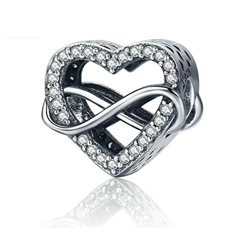 Annmors Abalorios Charms Colgantes de Corazón de amor infinito Cuentas Plata de Ley 925 con Compatible con Pulsera Pandora & Europeo, Charms para Mujer Niña
