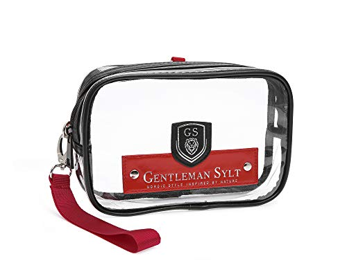 GENTLEMAN SYLT Kulturtasche Kulturbeutel durchsichtig Kosmetiktasche transparent schwarz Flyingbag zum Aufhängen 21x4x12 cm