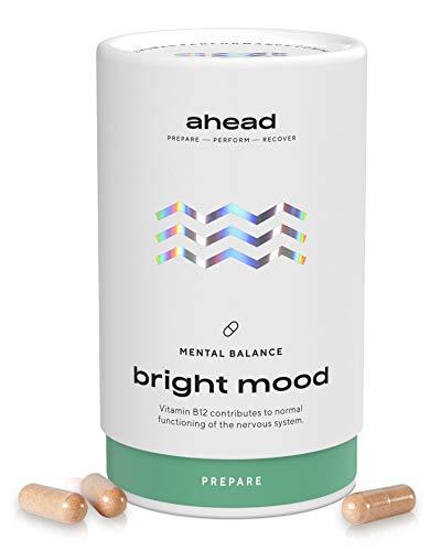 ahead BRIGHT MOOD | Natürlicher Stimmungsaufheller mit Vitamin B6 für Wohlbefinden und Nervensystem* | Mit Reishi, L-Tryptophan, 5 HTP, Reishi, Vitamin B6 und B12 | 90 vegane Kapseln