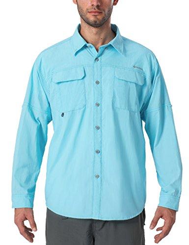 Naviskin Men's UPF 50+ Sun Protection Outdoor Long Sleeve Shirt Lightweight Quick-Dry Cooling Fishing Shirts Blue Size XL