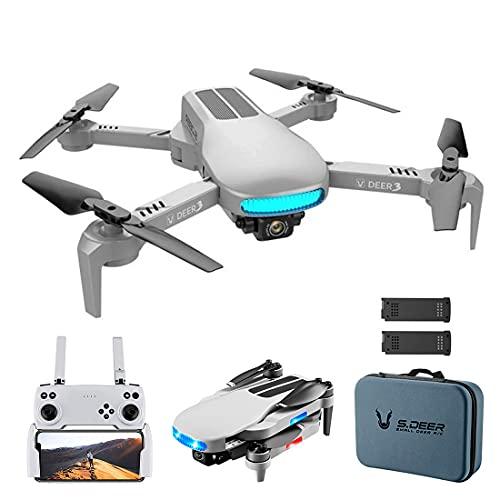 XIAOKEKE Drone RC con Telecamera GPS Regolabile Grandangolare 8K WiFi Gesto Foto Video MV FPV RC Quadcopter Follow Up Drone per Adulti (2 Batterie),Grigio