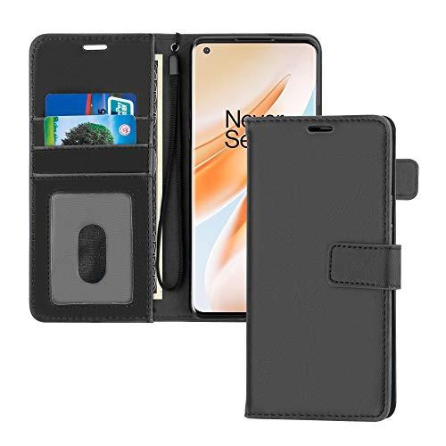 TECHGEAR Plånboksfodral i läder för OnePlus 8 Pro, vikbart skyddsfodral med plånbok korthållare, stativ och handledsrem – svart PU-läder med magnetisk stängning designad för OnePlus 8 Pro