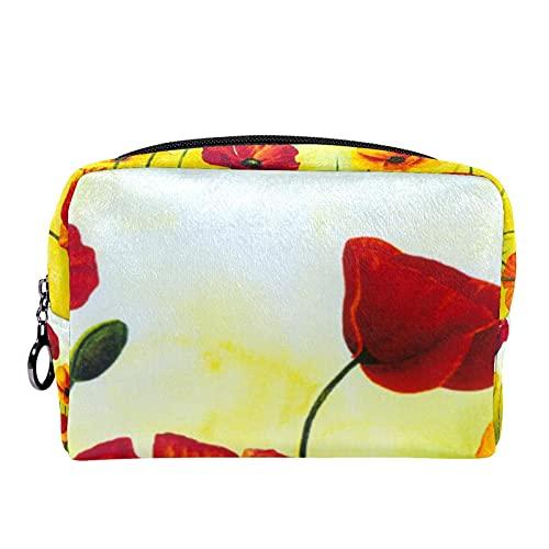 Makeup Tasche Tragbare Reisekosmetiktaschen, Mohn Malerei