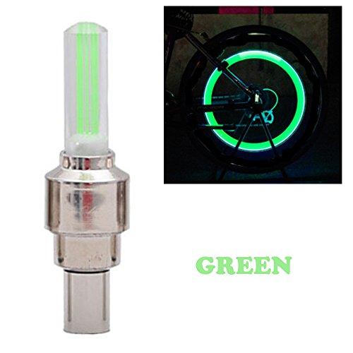 Marxways 2PCS Fahrrad Auto Motorrad Rad Reifen Ventilkappe Flash Wasserdicht Nachtfahrwarnung LED Licht Lampe Zubehör. (Green)