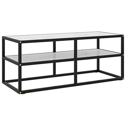 vidaXL TV Cabinet Living Room Furniture Entertainment Centre Stereo HiFi Plasma Stand Media Unit Lowboard Black with White Marble Glass 100 cm