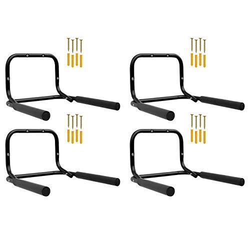 4x WELLGRO® Wand Fahrradhalter - Stahl, schwarz, klappbar, Tragkraft bis 50 kg, Wandmontage, weiche Schaumstoffpolsterung