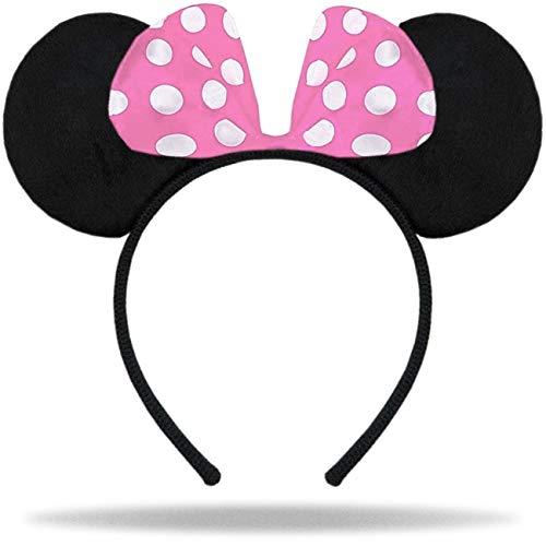 Hatstar Haarreifen mit Maus Ohren | Mouse Ears in schwarz mit Schleife in rosa und weißen Punkten für Kinder und Erwachsene …