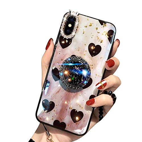 Aulzaju for iPhone Xs Max Case Bling Diamond Ring Stand Holder Bumper Cover Luxury Stylish Glitter Rhinestone Rugged Protective Phone Case Cute Love Heart Design Girly Women Butterfly Camera Case