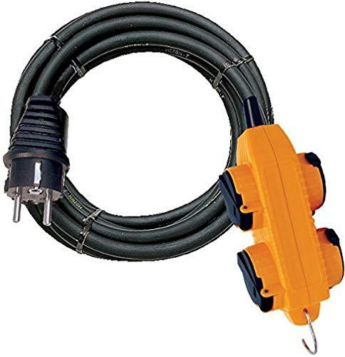 Brennenstuhl - 1151781 - Cable alargador Powerblock + 4 enchufes con tapa, protección IP44, 10 m, H07RN-F, 3G 2,5, color negro