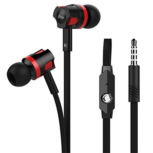 pTron HBE5 Raptor (High Bass Earphones) in-Ear Stereo Wired Headphones with Mic - (Black and Red)