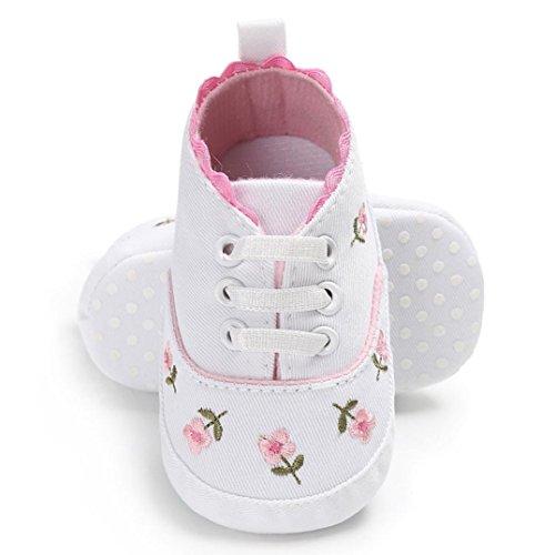 URSING Neugeboren Prinzessin Rosa Säugling Baby Mädchen Blumen Krippenschuhe Weiche Sohle Anti-Rutsch Segeltuch weich gemütlich Turnschuhe (12~18 Month, Weiß )