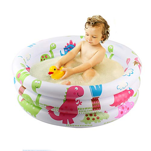 3T6B Acuario Inflable 80 * 25 cm 100 litros, Piscina Inflable Infantil Tres Anillos Dinosaurio Blanco