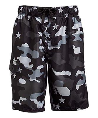 Kanu Surf Men's Legacy Swim Trunks (Regular & Extended Sizes), Camo Flag Black, 3X