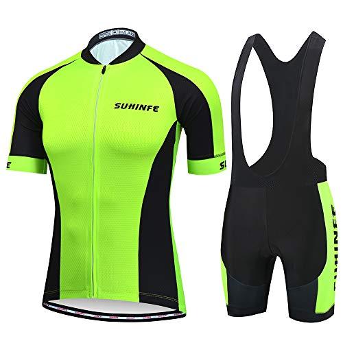 Abbigliamento Sportivo per Bicicletta, Maglia Ciclismo Maniche Corte con Pantaloncini Abbigliamento per MTB Ciclista, Verde, S