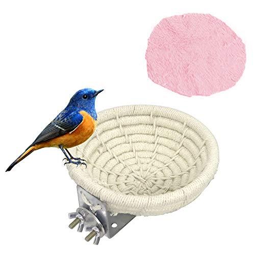 Geoyien Nidos de pájaros, Nido de pájaro de algodón con Tornillo de fijación, Nido de pájaro Hecho a Mano, Cama de casa de pájaro para Loros pequeños Budgie Parakeet Cockatiel Lovebird