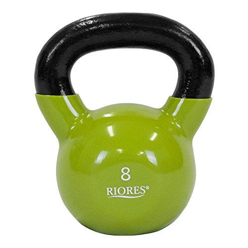 RIORES(リオレス) ケトルベル KETTLEBELL 4kg/8kg/12kg/16kg/20kg/24kg PVCコーティング ((B) 8kg グリーン)