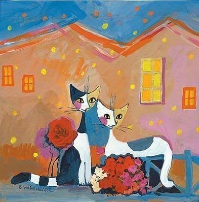 Fertig-Bild - Rosina Wachtmeister: Congratulation 39 x 39 cm Katzen Paar Liebe Romantik