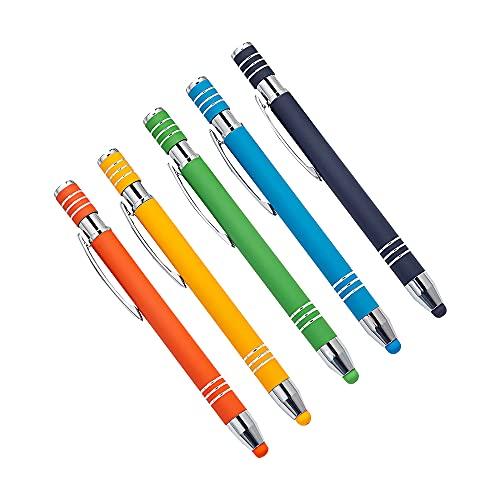 CJBIN Touchpen, 5 penne per cellulare Touch 2 in 1 con touch pen e pennino capacitivo, per iPad, iPhone, Kindle note, tablet, cancelleria, ecc. (5 colori)