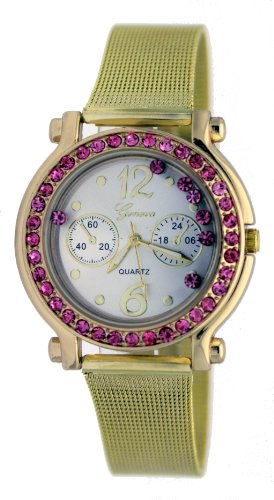 Geneva Nordic Gold Women's Round Pink Accents Chainmail Fashion Watch #35846 -  AK-21099