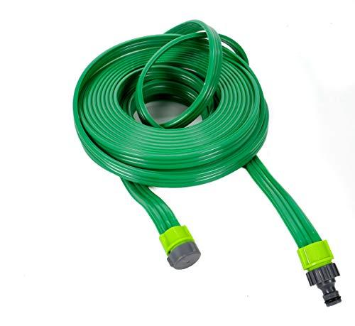 """Flacher Sprinklerschlauch, Bewässerungsschlauch für den Garten, Sprühregner auf ganzer Schlauchlänge, inkl. 1/2"""" Verbindungsadapter Schnellanschluß + Endstück, ca. 15 m, grün"""