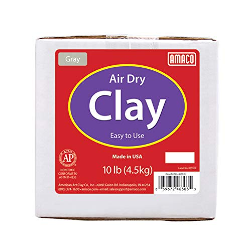 AMACO Air Dry Clay, Gray, 10 lbs, Grey