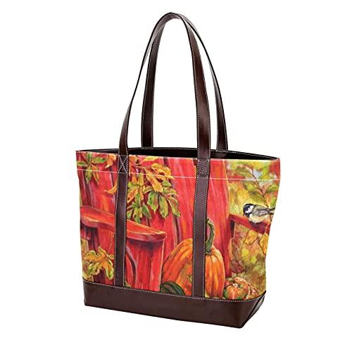 NaiiaN Einkaufstasche für Mutter Frauen Mädchen Damen Student Geldbörse Shopping Leichtgewicht Gurt Herbst Adirondack Dekorative Herbst Ernte Stuhl Kürbis Umhängetaschen Handtaschen