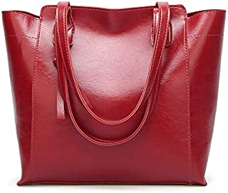 Leather New Women's Handbags PU Leather Shoulder Wallet Fashion Tote Wallet Simple Wild Shoulder Wallet Waterproof (Color : Red, Size : M)