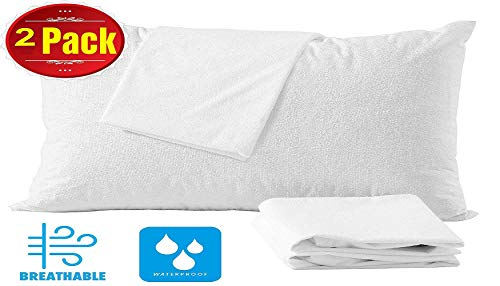 Niagara Sleep Solution 4 Pack Cotton Standard 20x26 Pillow Protectors 100% Waterproof Life Time Replacement Zippered Cotton White Terry Pillow Encasement Washable Long Life Soft (4 Pack Standard)