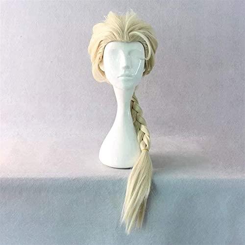 Frozen (Elsa) Anime Cosplay Rose Net Wigs 100% Alta temperatura Resistente a la FIBRA LIGHT ORO DE ORO LARGO LARGO RECTORETE BRAIDADA CHEXO 26 pulgadas chenghuax