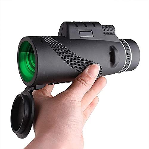 Fisecnoo Telescopio monocular, 40 x 60 para lente de zoom para adultos y teléfono de alta definición de alta potencia con soporte para smartphone