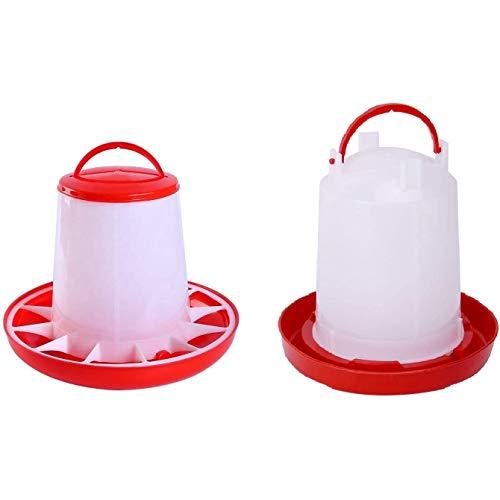 KU Syang Kit de Comedero y Bebedero para Pollitos para Aves de Corral Fuente para hasta 12 Pollitos, Asador FáCil de Limpiar, Muy PráCtico para Gallinero