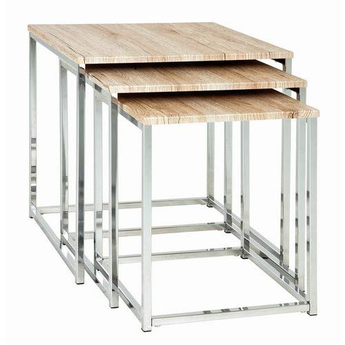 Haku-Möbel 3-Satz-Tisch, Holz, Stahl, Chrom/Eiche San Remo, 29/34/39 x 29/34/39 x 36/39/42 cm